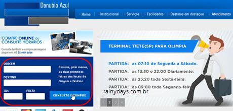 Comprar passagem da Danúbio Azul pela internet