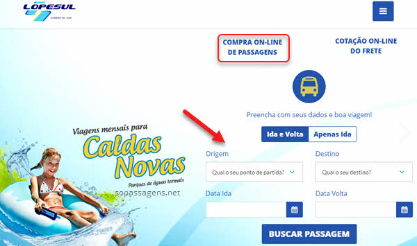 Comprar passagem da Lopes Sul pela internet e telefone