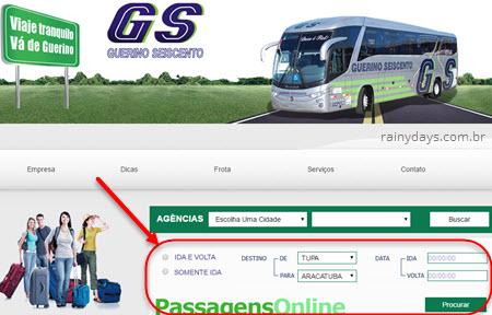 Comprar passagem da Viação Guerino pela web