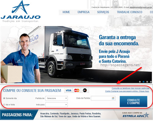 Comprar passagem da viação J Araujo pela internet