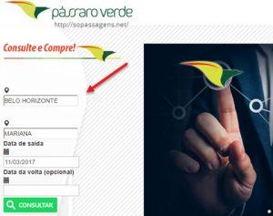 Passagens da Pássaro Verde pela internet