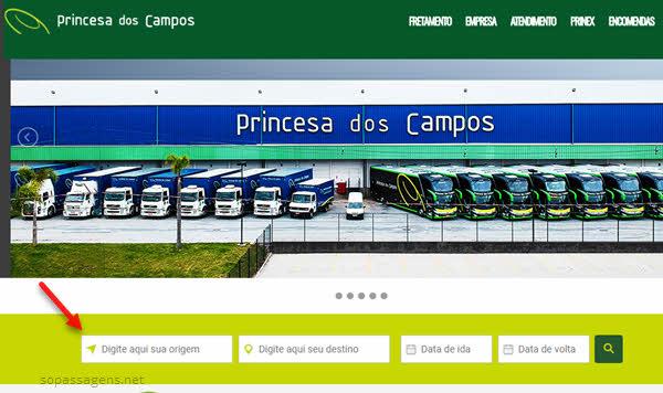 Passagens da Princesa dos Campos pela internet