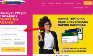 Comprar passagens da Viação Rápido Campinas online e telefone