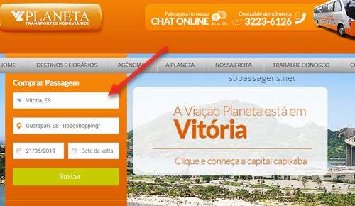 Passagens da Viação Planeta pela internet