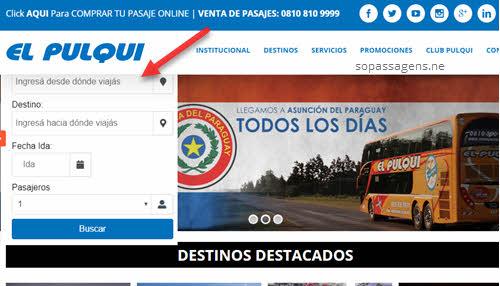 Passagens da El Pulqui pela internet ou telefone