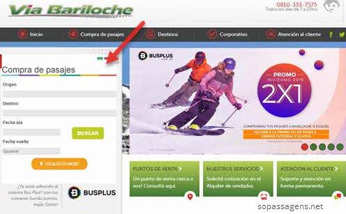Passagens via Bariloche pela internet ou telefone